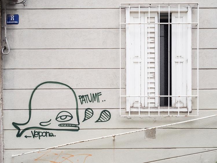 Trieste - 2014 / 'è una strada in salita, che dal mare porta alla collina. E c'è un buffo disegno: una balena stanca e desolata. Com'è difficile lasciare i propri luoghi, è davvero una gran fatica... patumf!